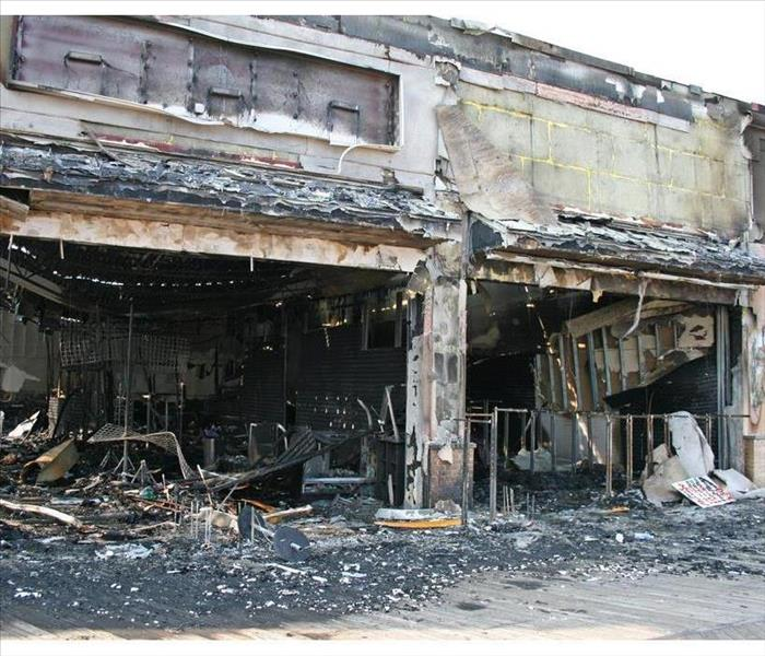 A big commercial building burned out